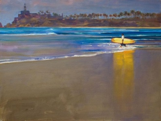 SURFER MORNING, CERRITOS oil on canvas 18 x 24 inches